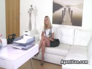 Fake agent photo shoots and fucks blonde in casting